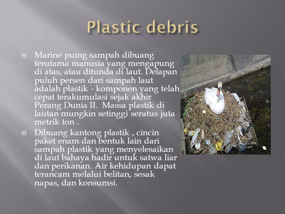  Marine puing sampah dibuang terutama manusia yang mengapung di atas, atau ditunda di laut.