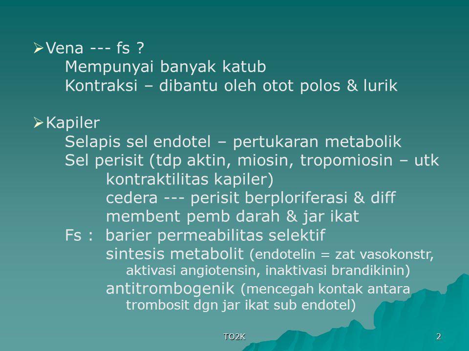 TO2K 2  Vena --- fs ? Mempunyai banyak katub Kontraksi – dibantu oleh otot polos & lurik  Kapiler Selapis sel endotel – pertukaran metabolik Sel per