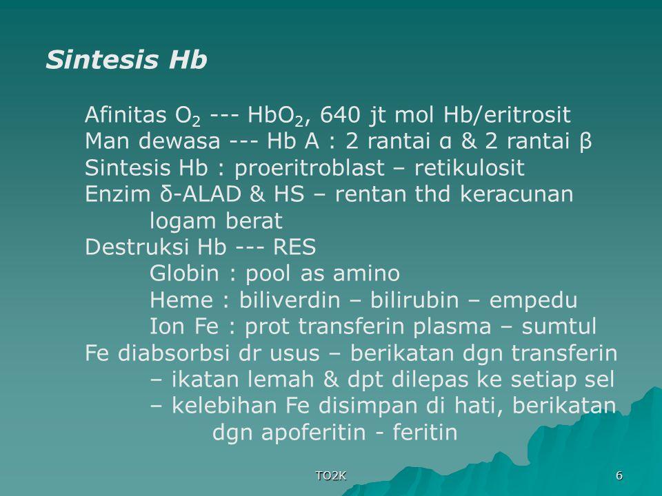 TO2K 6 Sintesis Hb Afinitas O 2 --- HbO 2, 640 jt mol Hb/eritrosit Man dewasa --- Hb A : 2 rantai α & 2 rantai β Sintesis Hb : proeritroblast – retiku