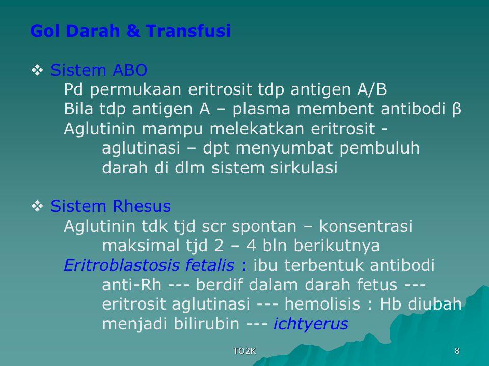 TO2K 8 Gol Darah & Transfusi  Sistem ABO Pd permukaan eritrosit tdp antigen A/B Bila tdp antigen A – plasma membent antibodi β Aglutinin mampu meleka