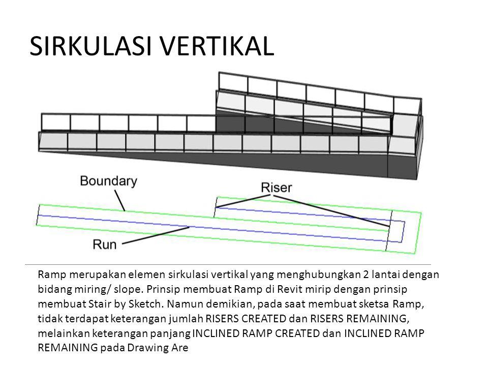 Ramp merupakan elemen sirkulasi vertikal yang menghubungkan 2 lantai dengan bidang miring/ slope. Prinsip membuat Ramp di Revit mirip dengan prinsip m