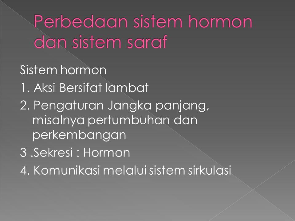 Sistem hormon 1. Aksi Bersifat lambat 2. Pengaturan Jangka panjang, misalnya pertumbuhan dan perkembangan 3.Sekresi : Hormon 4. Komunikasi melalui sis