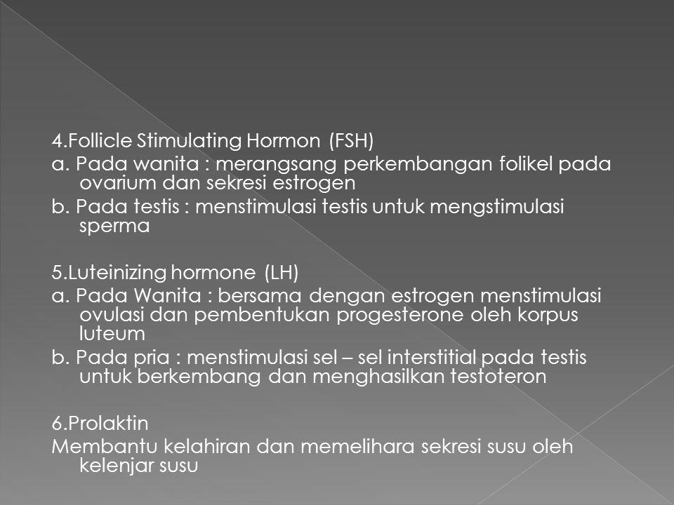 4.Follicle Stimulating Hormon (FSH) a. Pada wanita : merangsang perkembangan folikel pada ovarium dan sekresi estrogen b. Pada testis : menstimulasi t