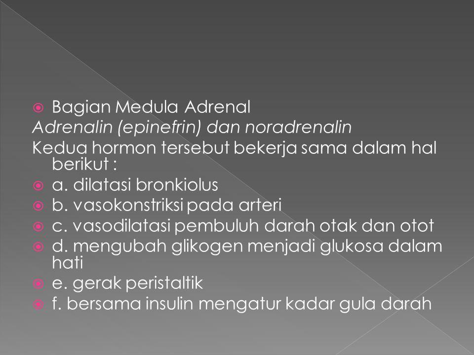  Bagian Medula Adrenal Adrenalin (epinefrin) dan noradrenalin Kedua hormon tersebut bekerja sama dalam hal berikut :  a. dilatasi bronkiolus  b. va