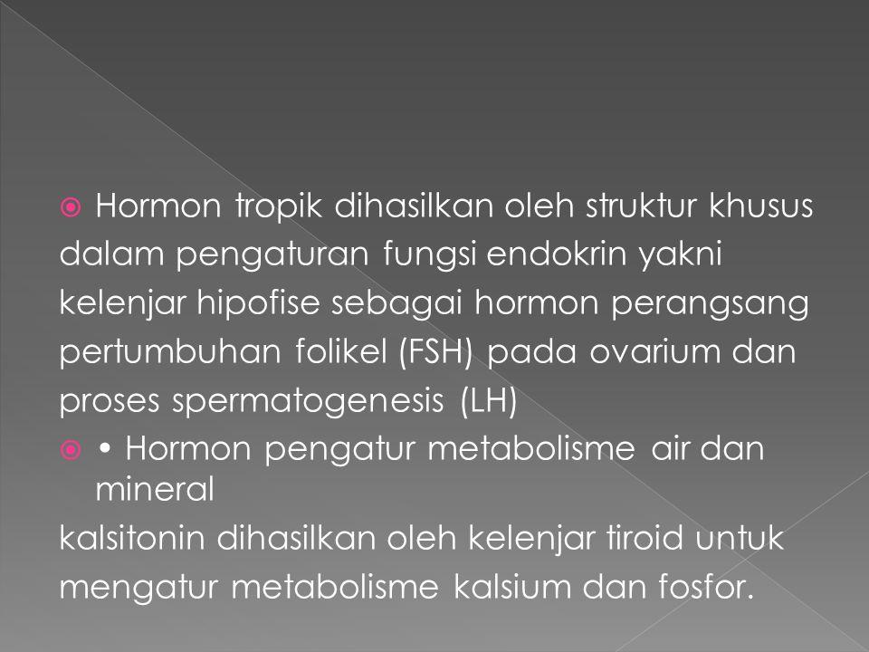Klasifikasi SISTEM ENDOKRIN  Hormon yang larut dalam air termasuk polipeptida (mis., insulin, glukagon, hormon adrenokortikotropik (ACTH), gastrin) dan katekolamin (mis., dopamin, norepinefrin, epinefrin)  Hormon yang larut dalam lemak termasuk steroid (mis., estrogen, progesteron, testosteron, glukokortikoid, aldosteron) dan tironin (mis., tiroksin)