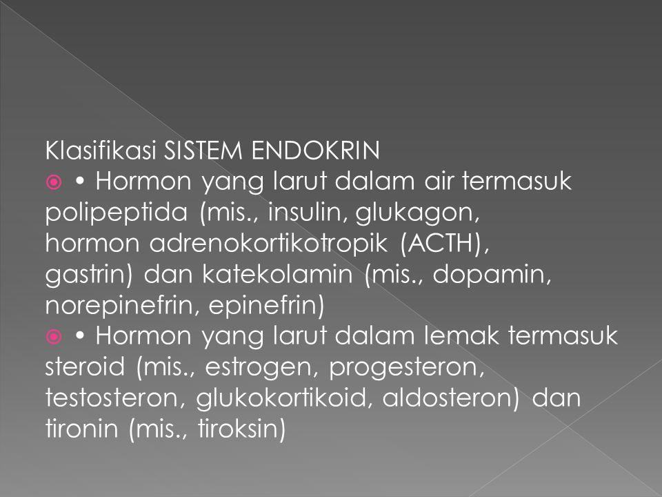 Klasifikasi SISTEM ENDOKRIN  Hormon yang larut dalam air termasuk polipeptida (mis., insulin, glukagon, hormon adrenokortikotropik (ACTH), gastrin) d