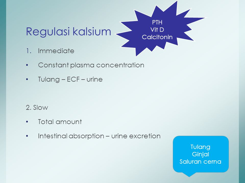 1.Immediate Constant plasma concentration Tulang – ECF – urine 2. Slow Total amount Intestinal absorption – urine excretion Regulasi kalsium Tulang Gi