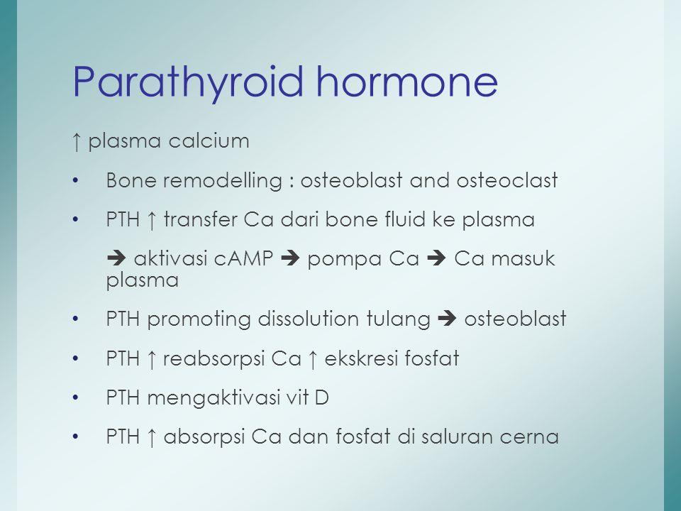 ↑ plasma calcium Bone remodelling : osteoblast and osteoclast PTH ↑ transfer Ca dari bone fluid ke plasma  aktivasi cAMP  pompa Ca  Ca masuk plasma