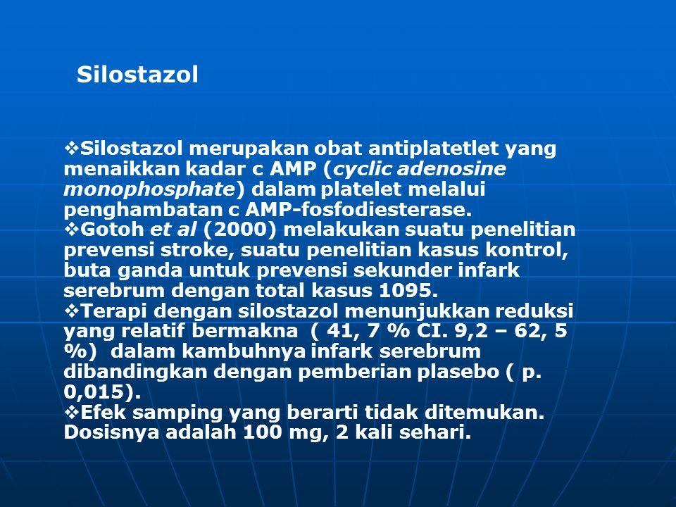  Silostazol merupakan obat antiplatetlet yang menaikkan kadar c AMP (cyclic adenosine monophosphate) dalam platelet melalui penghambatan c AMP-fosfod
