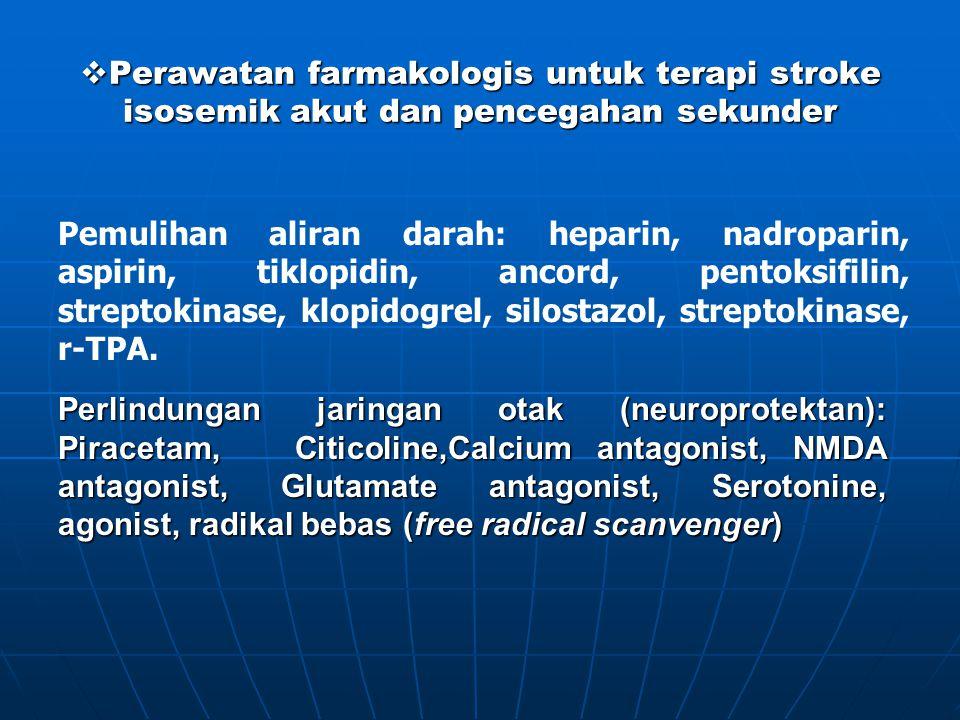  Perawatan farmakologis untuk terapi stroke isosemik akut dan pencegahan sekunder Perlindungan jaringan otak (neuroprotektan): Piracetam, Citicoline,