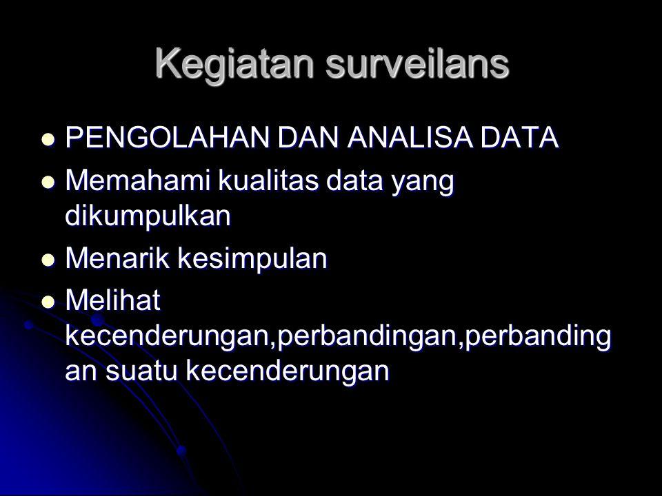 Kegiatan surveilans PENGOLAHAN DAN ANALISA DATA PENGOLAHAN DAN ANALISA DATA Memahami kualitas data yang dikumpulkan Memahami kualitas data yang dikump