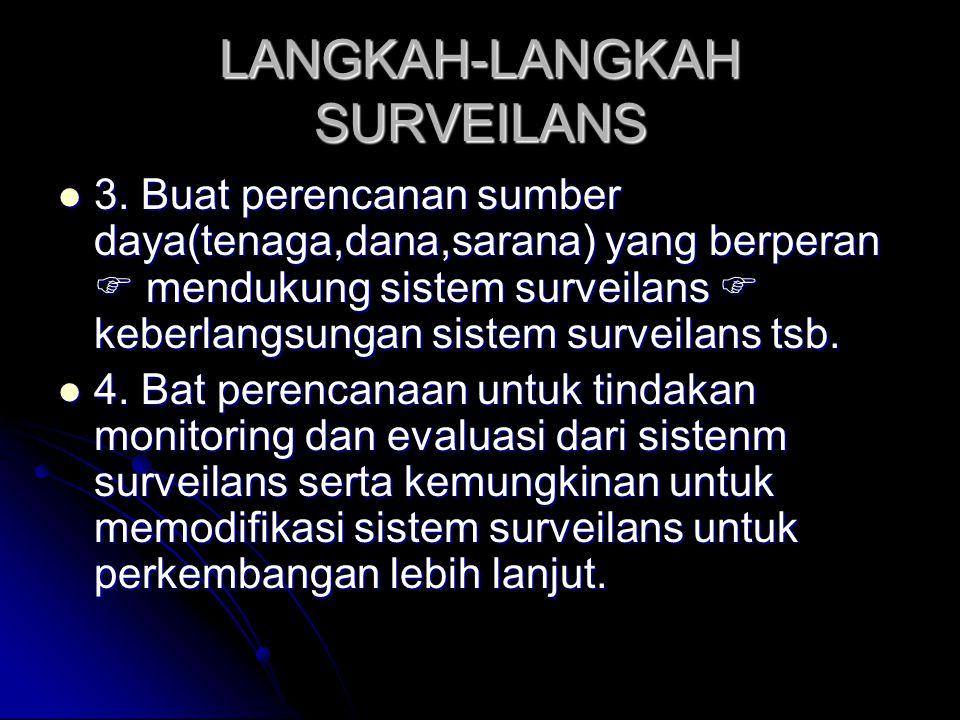 LANGKAH-LANGKAH SURVEILANS 3. Buat perencanan sumber daya(tenaga,dana,sarana) yang berperan  mendukung sistem surveilans  keberlangsungan sistem sur