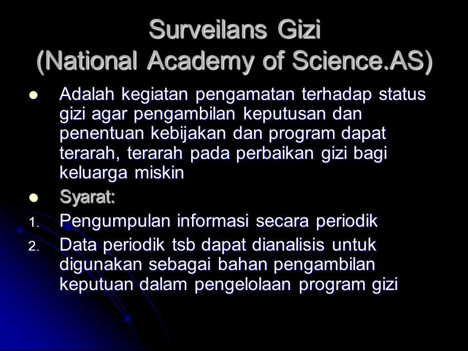 Surveilans Gizi (National Academy of Science.AS) Adalah kegiatan pengamatan terhadap status gizi agar pengambilan keputusan dan penentuan kebijakan da