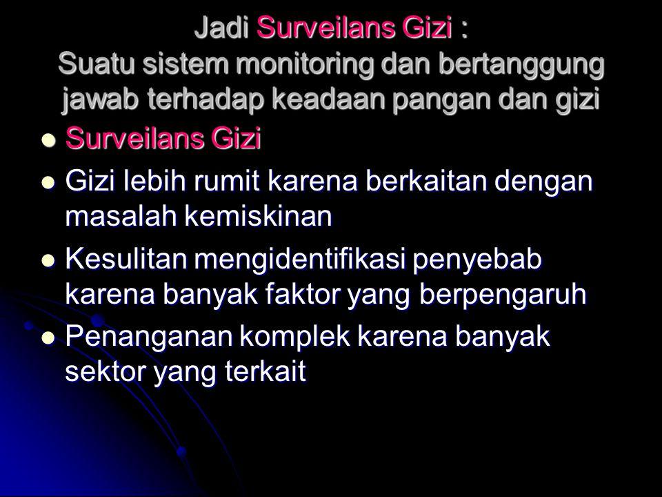 Jadi Surveilans Gizi : Suatu sistem monitoring dan bertanggung jawab terhadap keadaan pangan dan gizi Surveilans Gizi Surveilans Gizi Gizi lebih rumit