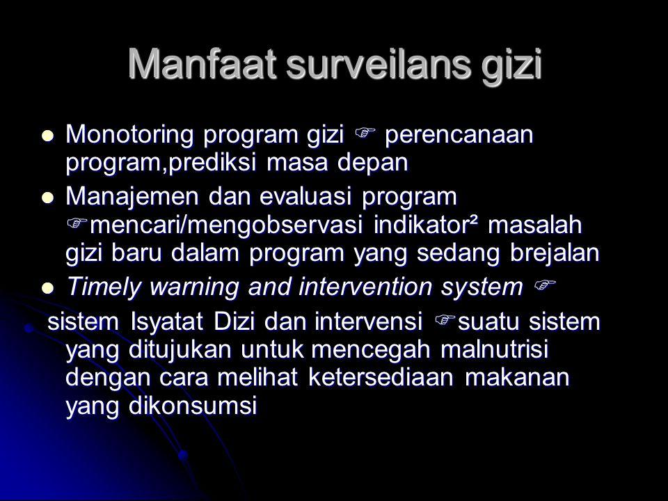 Manfaat surveilans gizi Monotoring program gizi  perencanaan program,prediksi masa depan Monotoring program gizi  perencanaan program,prediksi masa