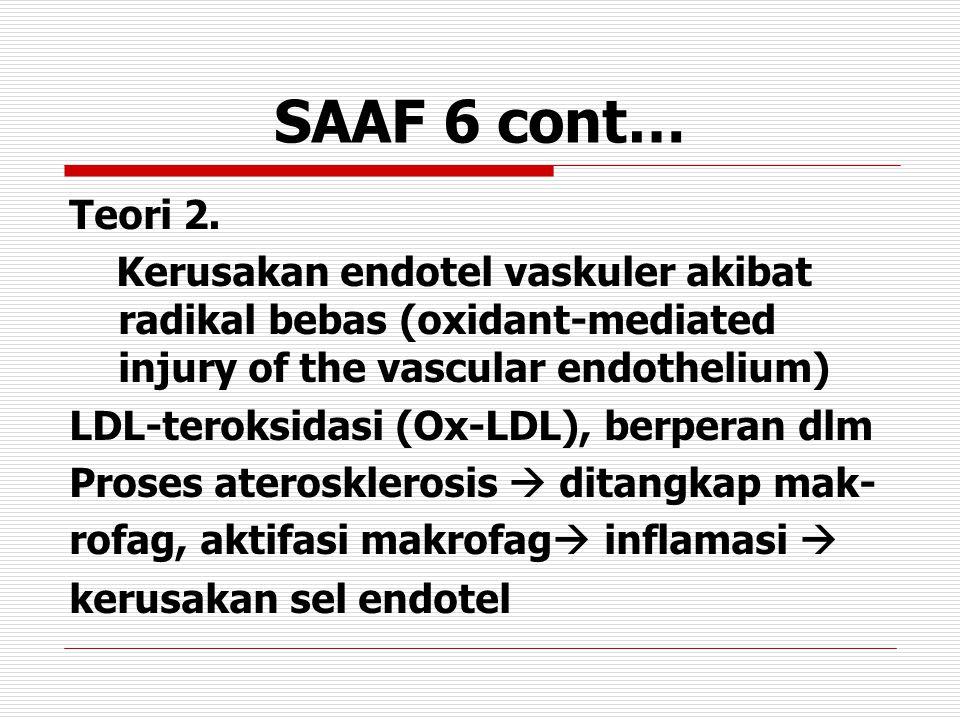 SAAF 6 cont… Teori 2. Kerusakan endotel vaskuler akibat radikal bebas (oxidant-mediated injury of the vascular endothelium) LDL-teroksidasi (Ox-LDL),