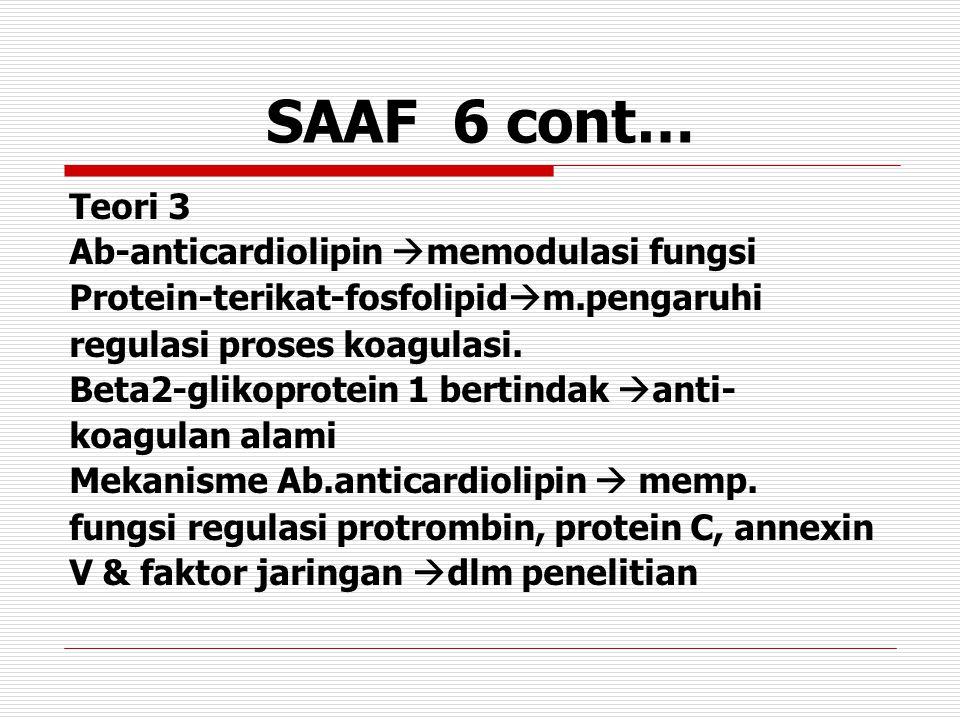 SAAF 6 cont… Teori 3 Ab-anticardiolipin  memodulasi fungsi Protein-terikat-fosfolipid  m.pengaruhi regulasi proses koagulasi. Beta2-glikoprotein 1 b
