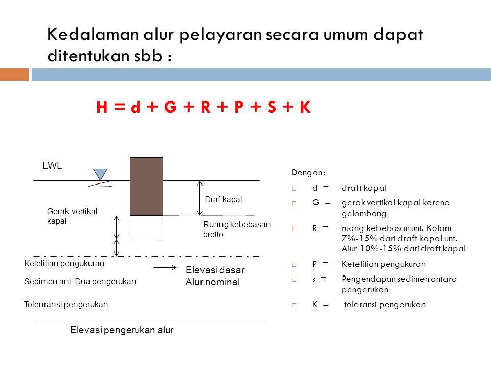 Kedalaman alur pelayaran secara umum dapat ditentukan sbb : H = d + G + R + P + S + K Dengan :  d = draft kapal  G = gerak vertikal kapal karena gel