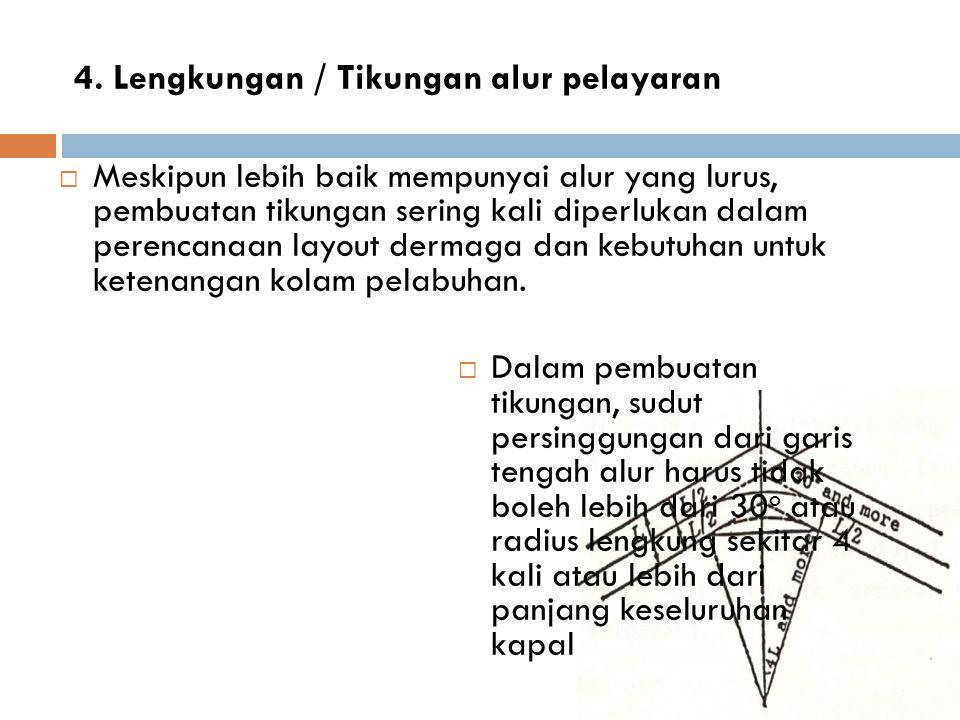 4. Lengkungan / Tikungan alur pelayaran  Meskipun lebih baik mempunyai alur yang lurus, pembuatan tikungan sering kali diperlukan dalam perencanaan l