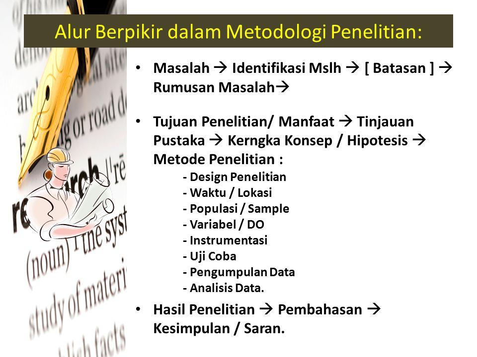 Alur Berpikir dalam Metodologi Penelitian: Masalah  Identifikasi Mslh  [ Batasan ]  Rumusan Masalah  Tujuan Penelitian/ Manfaat  Tinjauan Pustaka  Kerngka Konsep / Hipotesis  Metode Penelitian : - Design Penelitian - Waktu / Lokasi - Populasi / Sample - Variabel / DO - Instrumentasi - Uji Coba - Pengumpulan Data - Analisis Data.