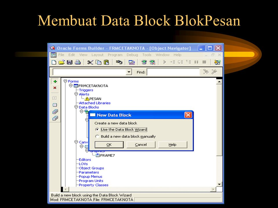 Membuat Data Block BlokPesan