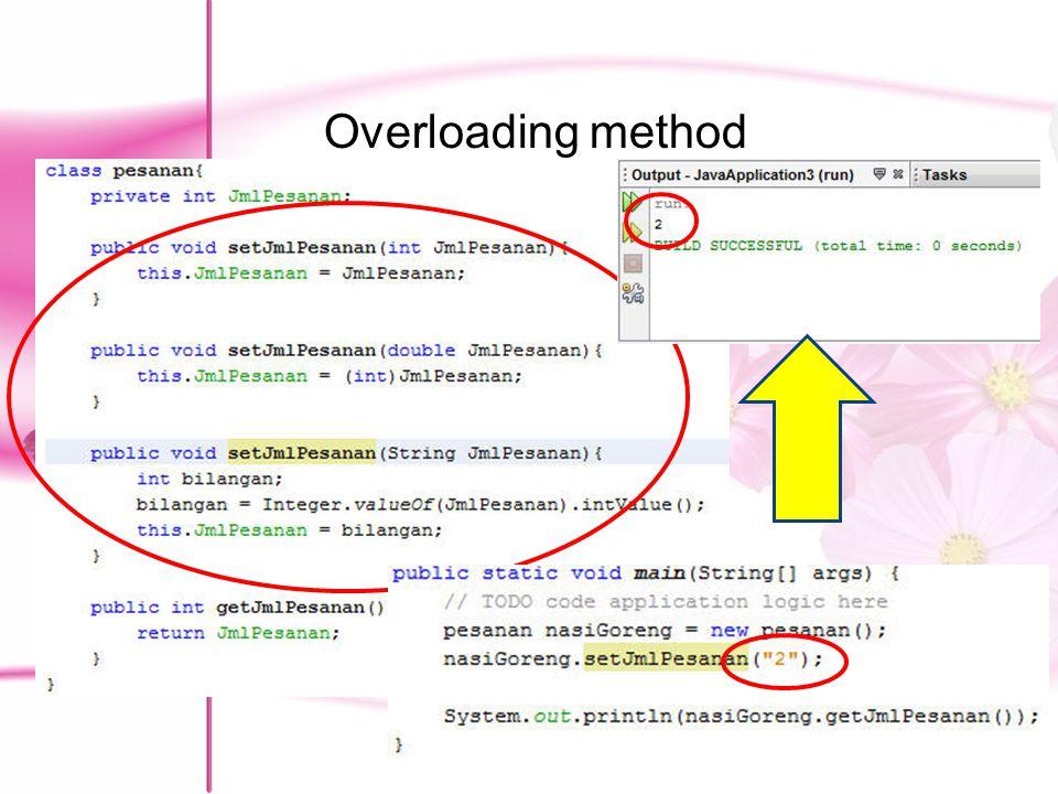 Latihan Penjelasan method : PesanKamar adalah constructor yang akan menginisialisasi seluruh atribut dg nilai tertentu totalBayar akan mengembalikan berapa yang harus dibayar oleh pemesan.
