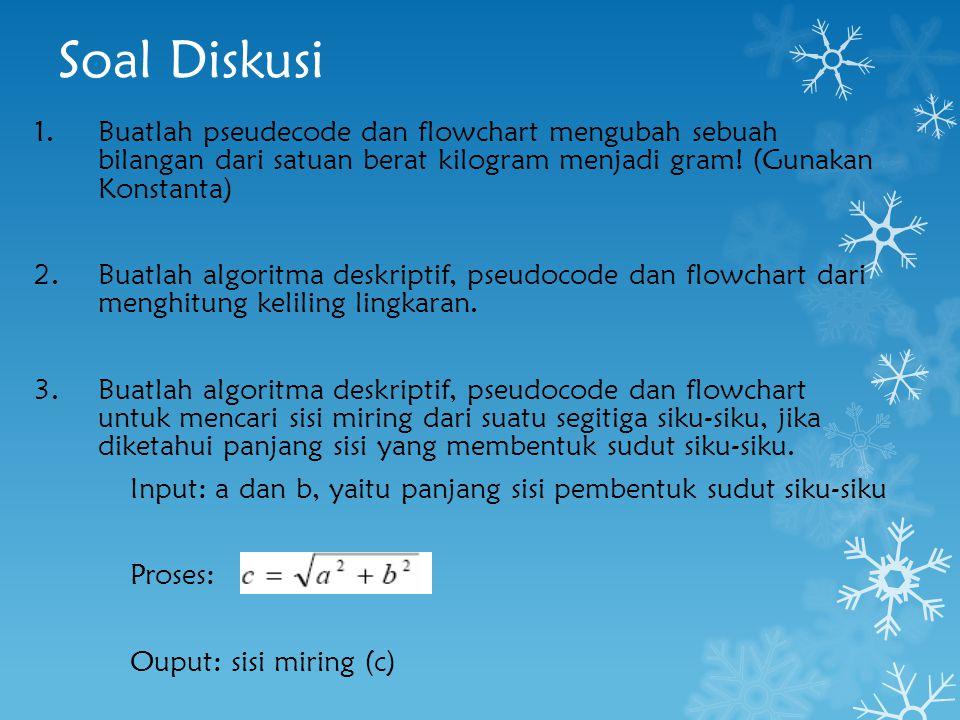 Soal Diskusi 1.Buatlah pseudecode dan flowchart mengubah sebuah bilangan dari satuan berat kilogram menjadi gram! (Gunakan Konstanta) 2.Buatlah algori