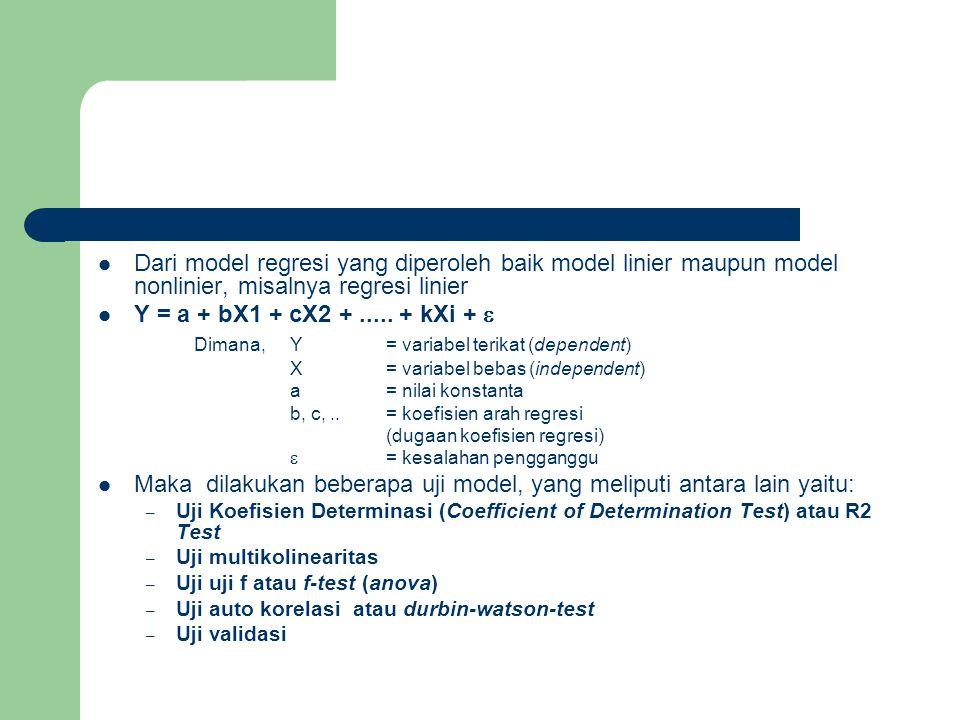 Dari model regresi yang diperoleh baik model linier maupun model nonlinier, misalnya regresi linier Y = a + bX1 + cX2 +..... + kXi +  Dimana,Y= varia