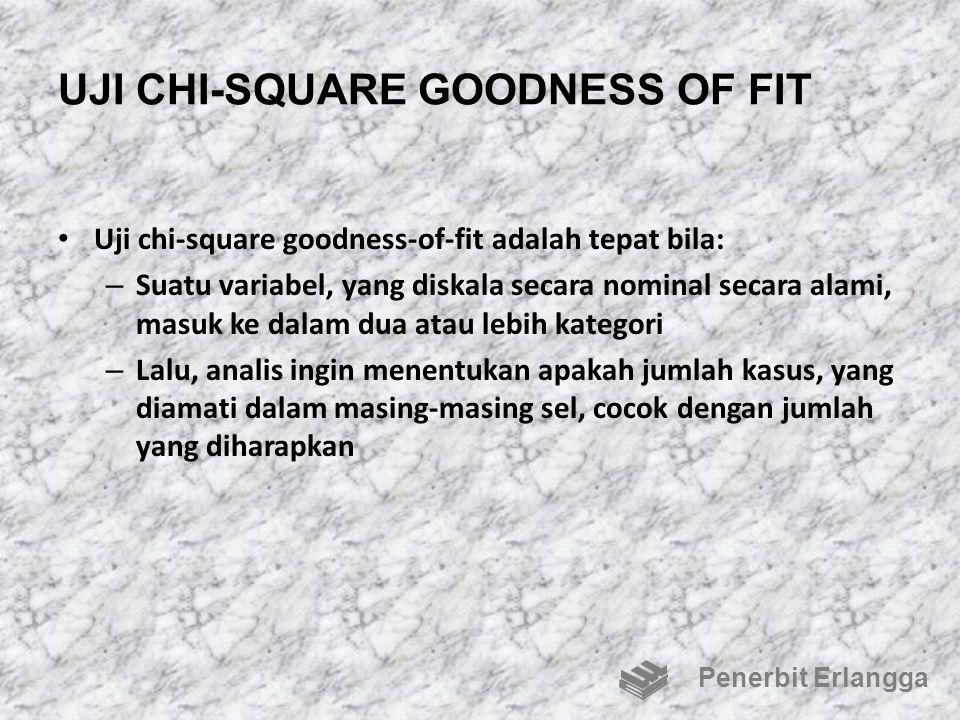 UJI CHI-SQUARE GOODNESS OF FIT Uji chi-square goodness-of-fit adalah tepat bila: – Suatu variabel, yang diskala secara nominal secara alami, masuk ke