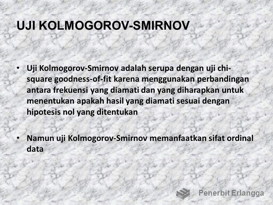 UJI KOLMOGOROV-SMIRNOV Uji Kolmogorov-Smirnov adalah serupa dengan uji chi- square goodness-of-fit karena menggunakan perbandingan antara frekuensi ya