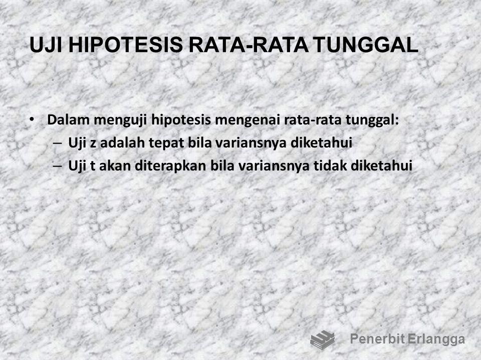 UJI HIPOTESIS RATA-RATA TUNGGAL Dalam menguji hipotesis mengenai rata-rata tunggal: – Uji z adalah tepat bila variansnya diketahui – Uji t akan ditera