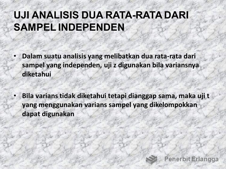 UJI ANALISIS DUA RATA-RATA DARI SAMPEL INDEPENDEN Dalam suatu analisis yang melibatkan dua rata-rata dari sampel yang independen, uji z digunakan bila