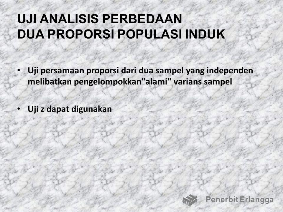 UJI ANALISIS PERBEDAAN DUA PROPORSI POPULASI INDUK Uji persamaan proporsi dari dua sampel yang independen melibatkan pengelompokkan