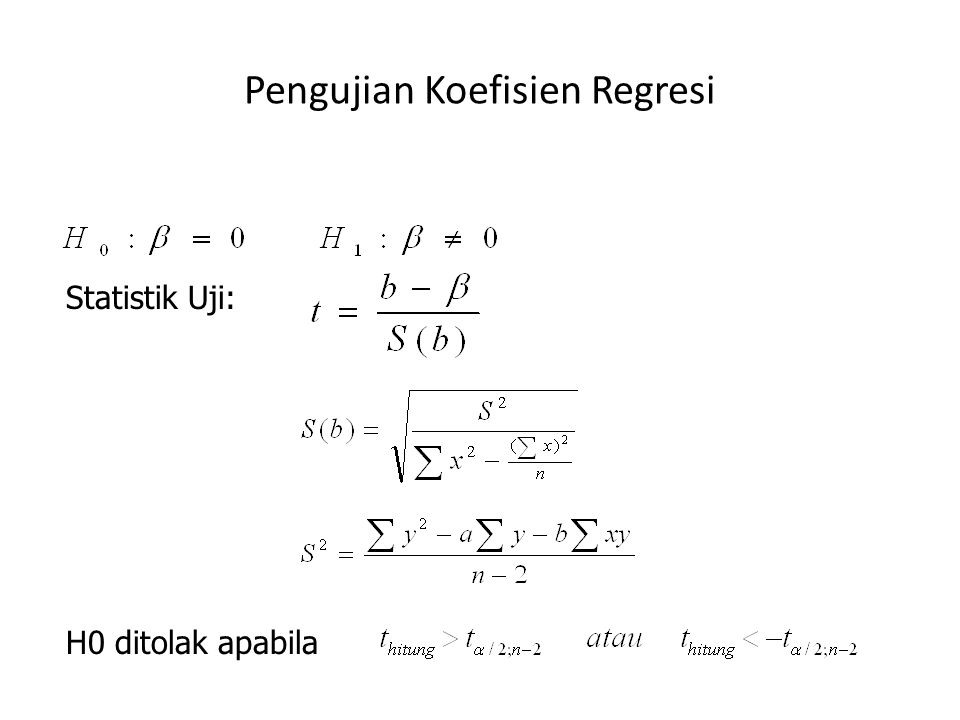 Pengujian Koefisien Regresi Statistik Uji: H0 ditolak apabila