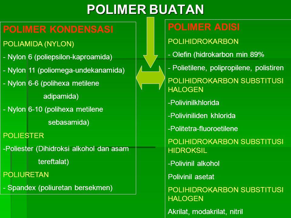 POLIMER BUATAN POLIMER KONDENSASI POLIAMIDA (NYLON) - Nylon 6 (poliepsilon-kaproamida) - Nylon 11 (poliomega-undekanamida) - Nylon 6-6 (polihexa metilene adipamida) - Nylon 6-10 (polihexa metilene sebasamida) POLIESTER -Poliester (Dihidroksi alkohol dan asam tereftalat) POLIURETAN - Spandex (poliuretan bersekmen) POLIMER ADISI POLIHIDROKARBON - Olefin (hidrokarbon min 89% - Polietilene, polipropilene, polistiren POLIHIDROKARBON SUBSTITUSI HALOGEN -Polivinilkhlorida -Poliviniliden khlorida -Politetra-fluoroetilene POLIHIDROKARBON SUBSTITUSI HIDROKSIL -Polivinil alkohol Polivinil asetat POLIHIDROKARBON SUBSTITUSI HALOGEN Akrilat, modakrilat, nitril