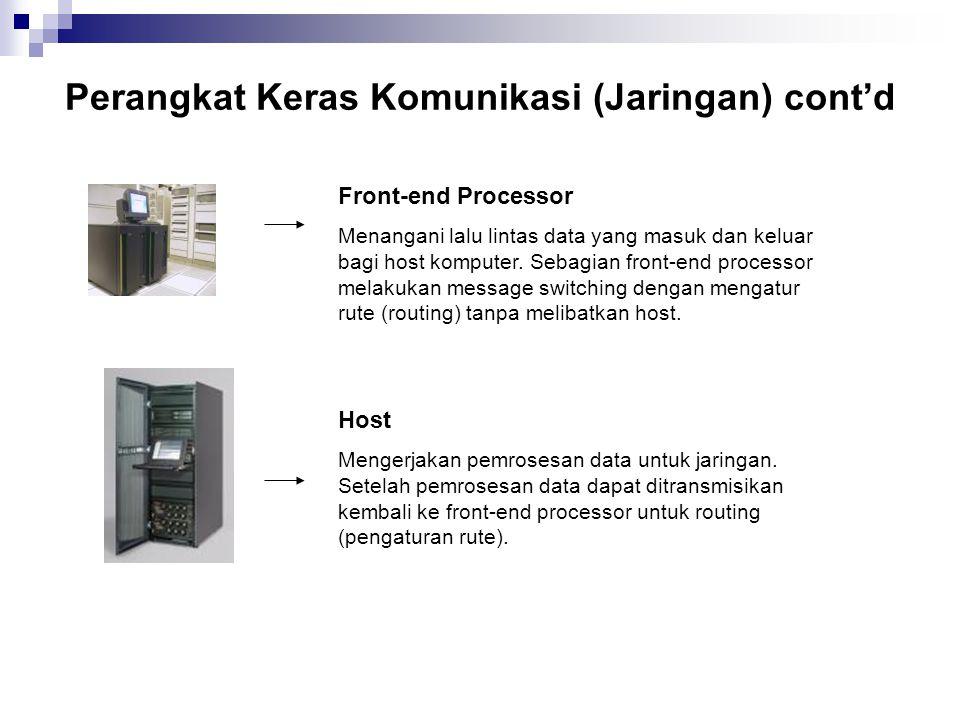 Perangkat Keras Komunikasi (Jaringan) cont'd Front-end Processor Menangani lalu lintas data yang masuk dan keluar bagi host komputer. Sebagian front-e
