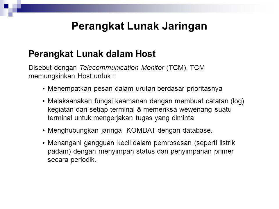Perangkat Lunak Jaringan Perangkat Lunak dalam Host Disebut dengan Telecommunication Monitor (TCM). TCM memungkinkan Host untuk : Menempatkan pesan da