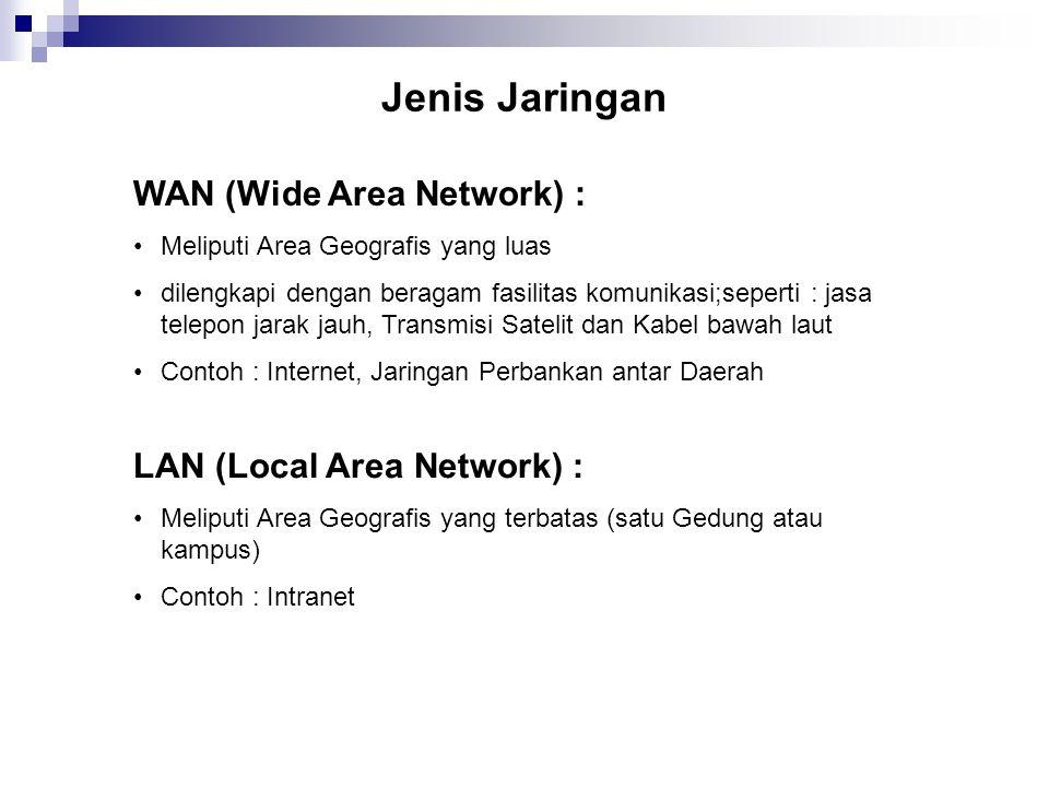 Jenis Jaringan WAN (Wide Area Network) : Meliputi Area Geografis yang luas dilengkapi dengan beragam fasilitas komunikasi;seperti : jasa telepon jarak