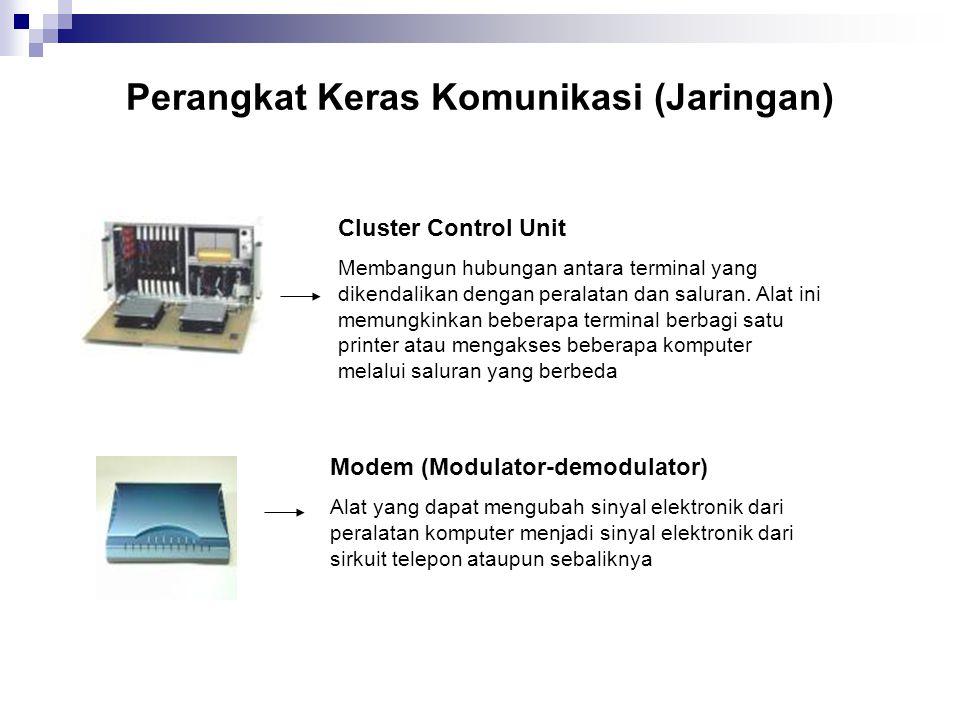 Perangkat Keras Komunikasi (Jaringan) Cluster Control Unit Membangun hubungan antara terminal yang dikendalikan dengan peralatan dan saluran. Alat ini
