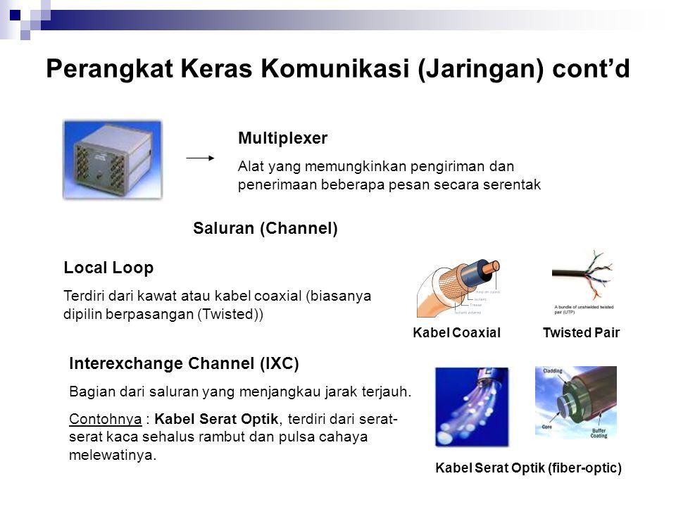 Perangkat Keras Komunikasi (Jaringan) cont'd Multiplexer Alat yang memungkinkan pengiriman dan penerimaan beberapa pesan secara serentak Local Loop Te