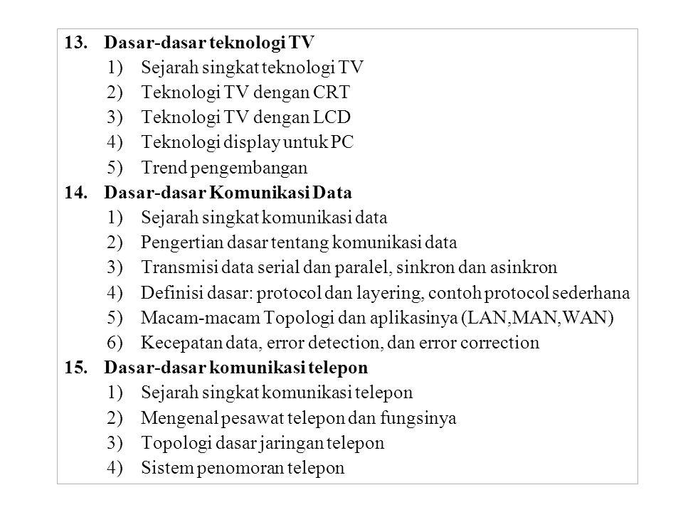 13.Dasar-dasar teknologi TV 1)Sejarah singkat teknologi TV 2)Teknologi TV dengan CRT 3)Teknologi TV dengan LCD 4)Teknologi display untuk PC 5)Trend pengembangan 14.Dasar-dasar Komunikasi Data 1)Sejarah singkat komunikasi data 2)Pengertian dasar tentang komunikasi data 3)Transmisi data serial dan paralel, sinkron dan asinkron 4)Definisi dasar: protocol dan layering, contoh protocol sederhana 5)Macam-macam Topologi dan aplikasinya (LAN,MAN,WAN) 6)Kecepatan data, error detection, dan error correction 15.Dasar-dasar komunikasi telepon 1)Sejarah singkat komunikasi telepon 2)Mengenal pesawat telepon dan fungsinya 3)Topologi dasar jaringan telepon 4)Sistem penomoran telepon