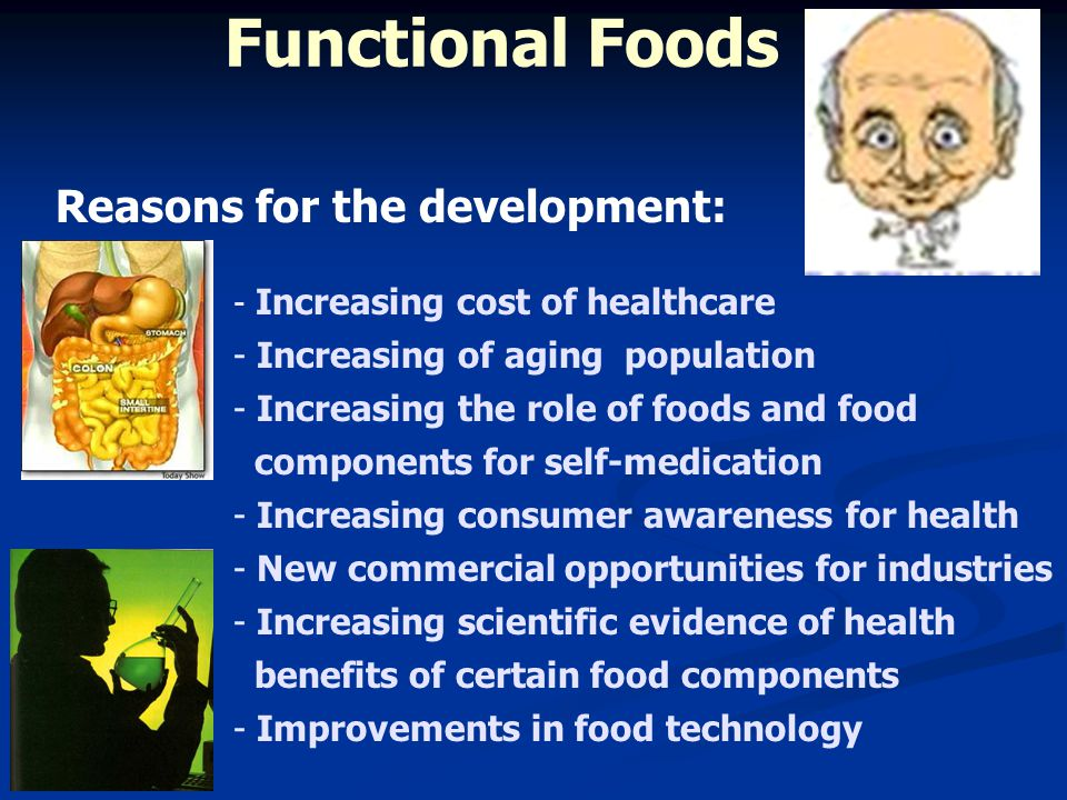 - Increasing cost of healthcare - Increasing of aging population - Increasing the role of foods and food components for self-medication - Increasing c