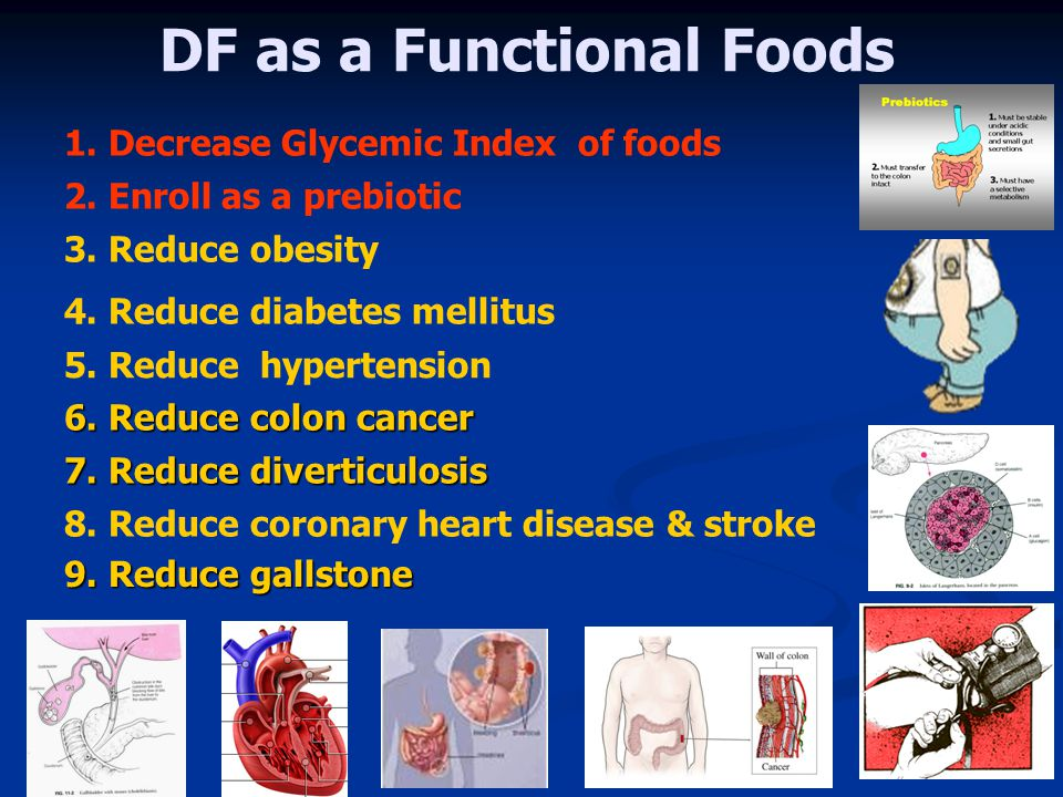 DF as a Functional Foods 3. Reduce obesity 4. Reduce diabetes mellitus 5. Reduce hypertension 6. Reduce colon cancer 7. Reduce diverticulosis 8. Reduc