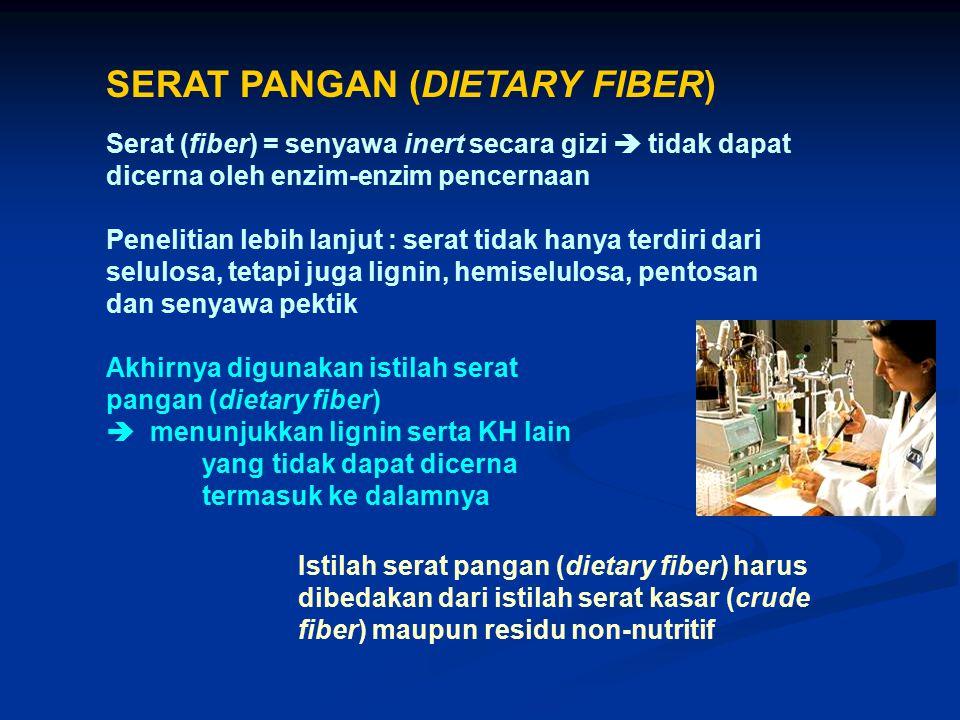 SERAT PANGAN (DIETARY FIBER) Serat (fiber) = senyawa inert secara gizi  tidak dapat dicerna oleh enzim-enzim pencernaan Penelitian lebih lanjut : ser