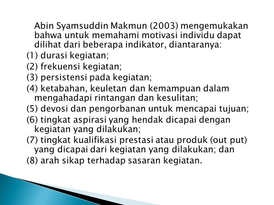 Abin Syamsuddin Makmun (2003) mengemukakan bahwa untuk memahami motivasi individu dapat dilihat dari beberapa indikator, diantaranya: (1) durasi kegiatan; (2) frekuensi kegiatan; (3) persistensi pada kegiatan; (4) ketabahan, keuletan dan kemampuan dalam mengahadapi rintangan dan kesulitan; (5) devosi dan pengorbanan untuk mencapai tujuan; (6) tingkat aspirasi yang hendak dicapai dengan kegiatan yang dilakukan; (7) tingkat kualifikasi prestasi atau produk (out put) yang dicapai dari kegiatan yang dilakukan; dan (8) arah sikap terhadap sasaran kegiatan.