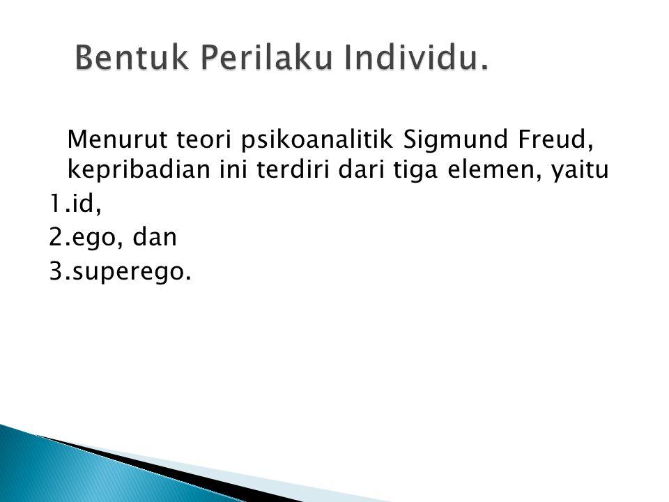 Menurut teori psikoanalitik Sigmund Freud, kepribadian ini terdiri dari tiga elemen, yaitu 1.id, 2.ego, dan 3.superego.
