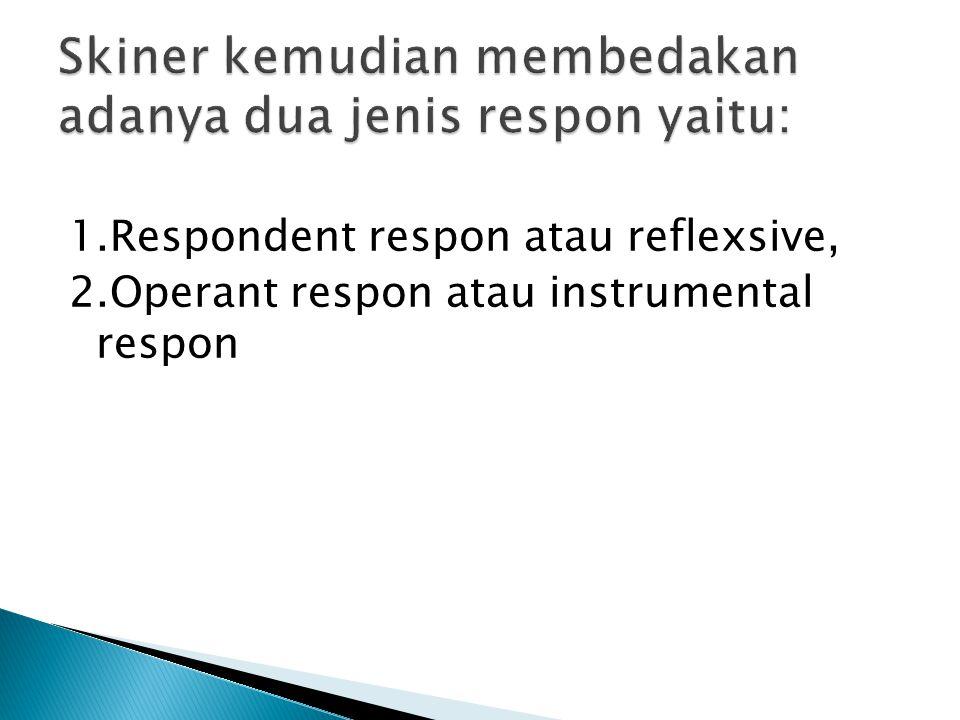 1.Respondent respon atau reflexsive, 2.Operant respon atau instrumental respon