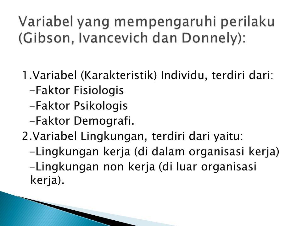 1.Variabel (Karakteristik) Individu, terdiri dari: -Faktor Fisiologis -Faktor Psikologis -Faktor Demografi.