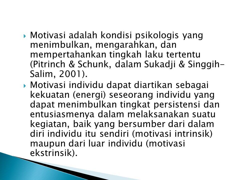  Motivasi adalah kondisi psikologis yang menimbulkan, mengarahkan, dan mempertahankan tingkah laku tertentu (Pitrinch & Schunk, dalam Sukadji & Singgih- Salim, 2001).