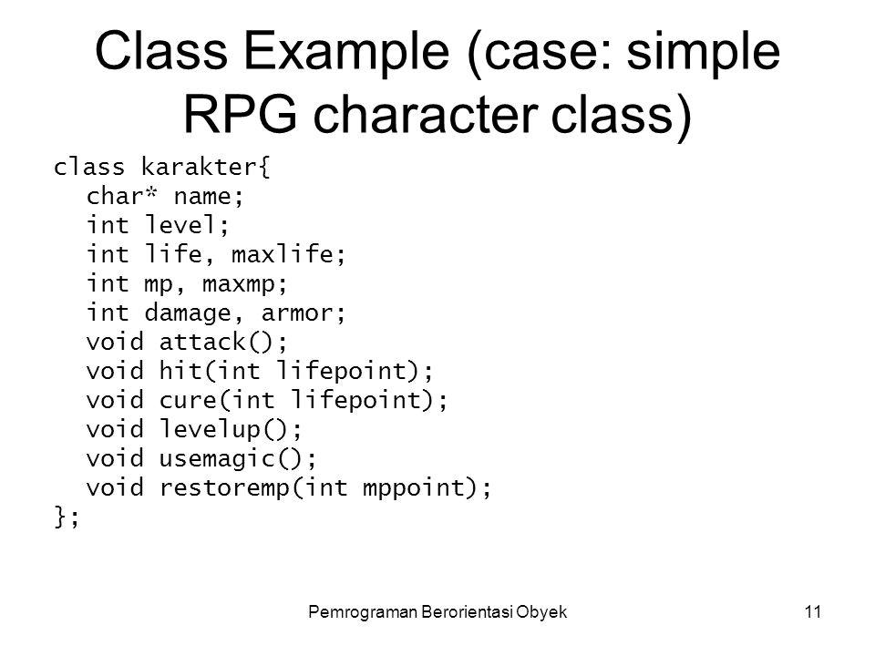 Pemrograman Berorientasi Obyek10 Function Prototype (inside class) #include class segitiga{ public: int alas, tinggi; double luas(); }; Void main(){ s